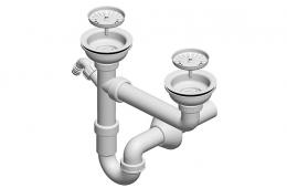 Dvodjelni sifon za sudoper